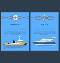 Steamboat and sea trip set vector
