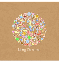 Stylized Colorful Background with Christmas Elemen vector image