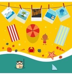 Summer beach in flat design vector image