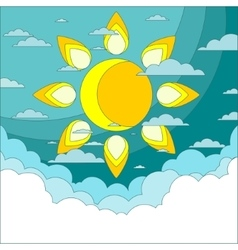 Sun in the sky Good weather background vector