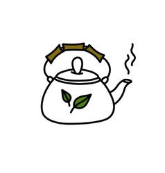 Teapot doodle icon color cute vector