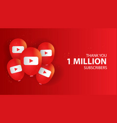 Thank you 1 million subscribers banner design vector