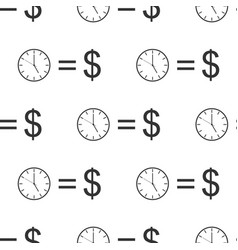 time is money sign seamless pattern money is time vector image