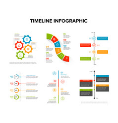timeline infographics design set with flat style vector image