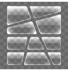 Transparent glass plates set on a gray background vector