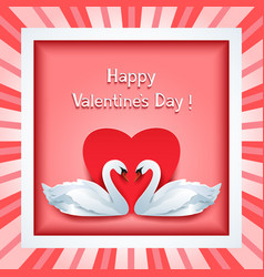Valentine day frame with 3d swan and heart vector