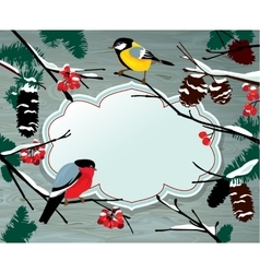 Winter horizontal card with frame berries cone vector image