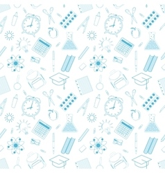 Seamless pattern with different school objects vector image