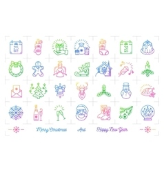 Trendy gradient Christmas icons set Winter vector image