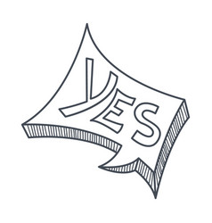 word yes hand drawn comic speech bubble template vector image