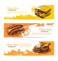 Hand drawn vintage fast food banners vector image vector image