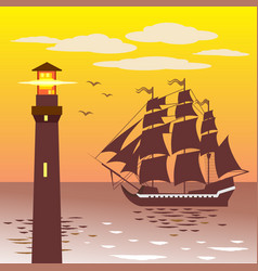 lighthouse silhouette against the sky and the sea vector image vector image