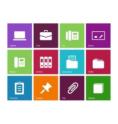 Office icons on color background vector image vector image