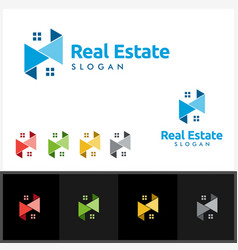 Real estate logo with building and home vector