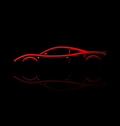 red sport car silhouette vector image
