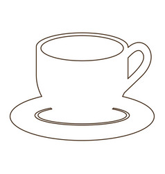sketch contour dish porcelain with cup icon vector image