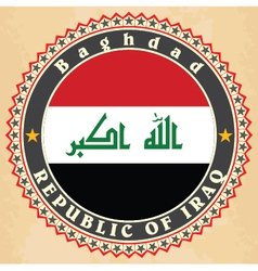 Vintage label cards of Iraq flag vector image vector image