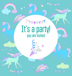 bright birthday party card with unicorns and vector image