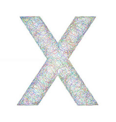Colorful sketch font design - letter X vector image