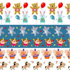 cute birthday seamless borders with cartoon vector image vector image