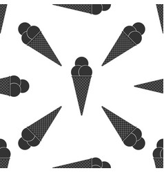 ice cream in waffle cone icon seamless pattern vector image
