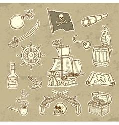 Pirates set vector image vector image