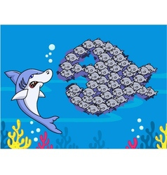 Shark and group of fish vector image vector image