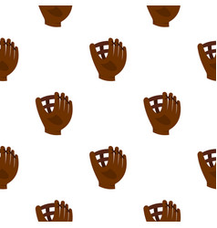 brown leather baseball glove pattern seamless vector image