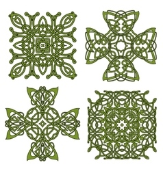 Green isolated celtic and irish crosses vector image