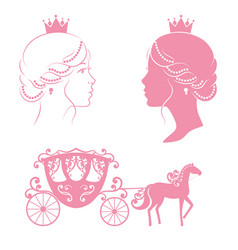 Profile silhouette of a princess and carriage vector