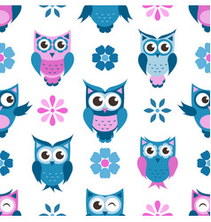 seamless pattern with funny owls and flowers vector image vector image