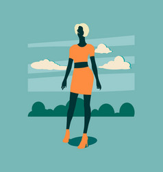 sexy woman silhouette in short skirt vector image vector image