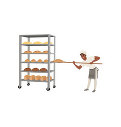 smiling african american baker character in vector image