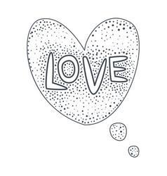 word love hand drawn comic speech bubble template vector image
