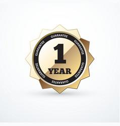 1 year guarantee gold sign vector image