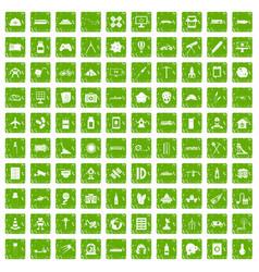 100 development icons set grunge green vector image