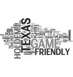 a friendly game of texas holdem text word cloud vector image