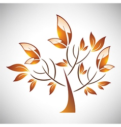 Abstract stylized autumn tree with leaf vector image