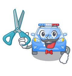 Barber police car on a cartoon roadside vector