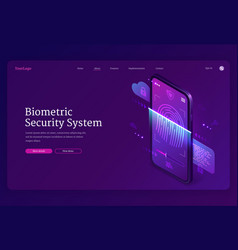 biometric security system isometric landing page vector image