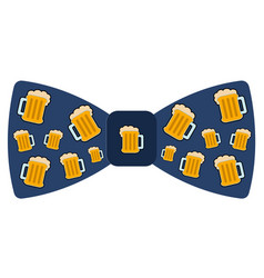 bowtie with beer icons vector image