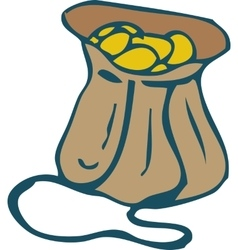 Brown Leather Bag with Gold Coins vector
