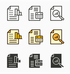 business report icons set vector image