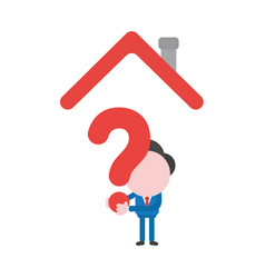 businessman character holding question mark under vector image