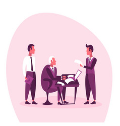 businessman sitting workplace business interview vector image