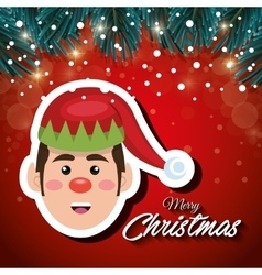 card christmas elf red background snowfall vector image