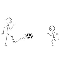 cartoon father and son playing with football vector image