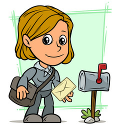 cartoon postgirl character with letter and mailbox vector image