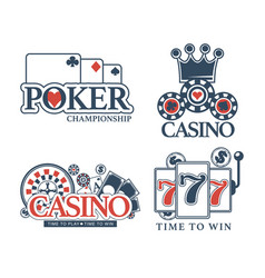 Casino poker gamble game icons vector