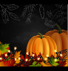 Chalkboard with autumn leaves and pumpkins vector